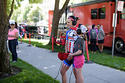 Megan Guarnier has an interview with Race Reporter Ruby at Amgen Breakaway from Heart Disease Women's Race empowered with SRAM (Tour of California) - Stage 4. A 20 lap criterium in Sacramento, USA on 14th May 2017.