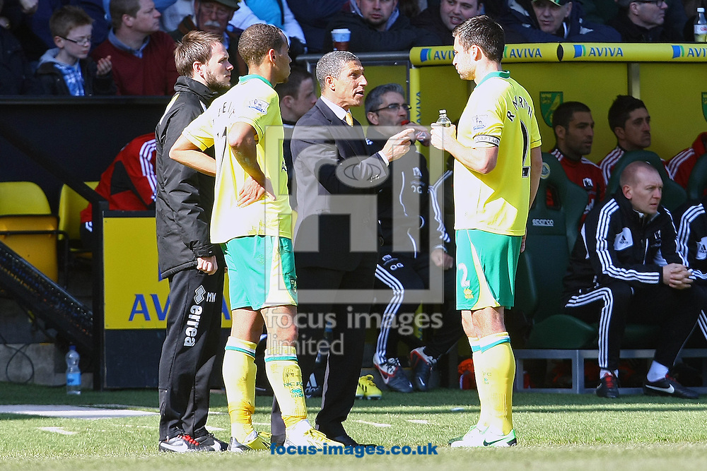 Picture by Paul Chesterton/Focus Images Ltd +44 7904 640267.06/04/2013.Norwich Manager Chris Hughton issues instructions to his players during the Barclays Premier League match at Carrow Road, Norwich.
