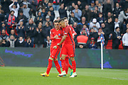 Marcos Aoas Correa dit Marquinhos (PSG) scored a goal from the decisive ball gaved from Giovani Lo Celso (PSG) and celebrated it with Julian Draxler (PSG) the French championship Ligue 1 football match between Paris Saint-Germain (PSG) and Bastia on May 6, 2017 at Parc des Princes Stadium in Paris, France - Photo Stephane Allaman / ProSportsImages / DPPI