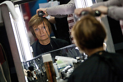 © Licensed to London News Pictures. 02/10/2012. Manchester, UK .Tessa Jowell getting her hair done ahead of an interview for Sky News . Labour Party Conference Day 3 at Manchester Central . Photo credit : Joel Goodman/LNP