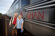 The Ghan.  Bruce and Win Streatfeild from Sydney, Australia, celebrate their 60th Wedding Anniversary aboard the Ghan from Darwin to Adelaide.   Darwin, Northern Territory, Australia. Image © Arsineh Houspian/Falcon Photo Agency.