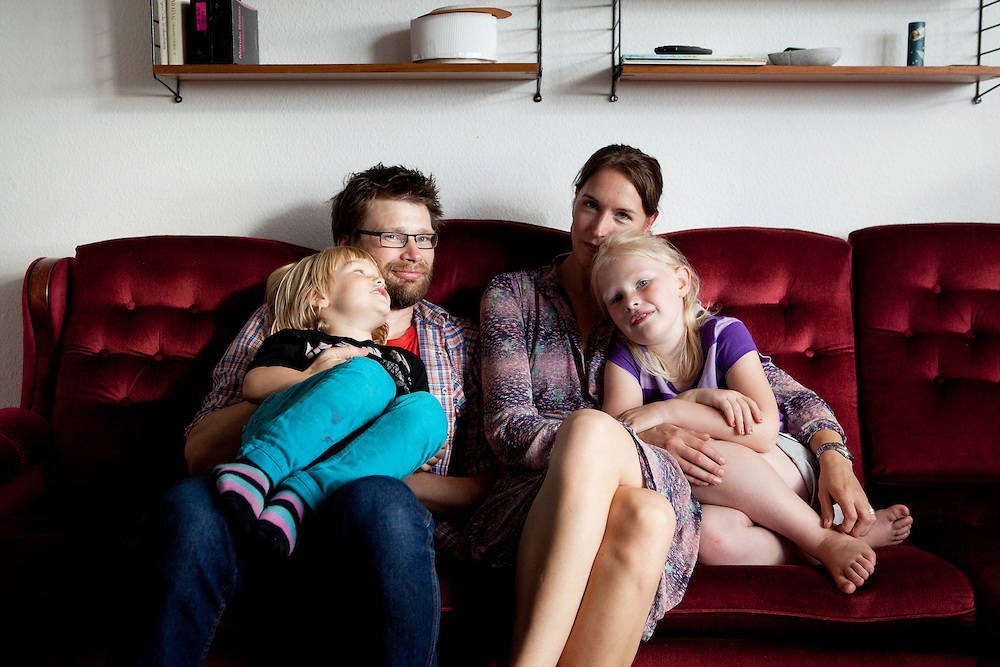 Linköping, Sweden, August 20, 2012. Stolplyckan, the second biggest collective in Sweden with 184 apartments. Sofia, her husband Tommy and daughters Vega and Sigge.