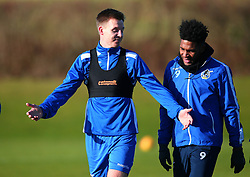 New signing Tony Craig takes part in his first training session after signing for Bristol Rovers and chats with Ellis Harrison - Mandatory by-line: Robbie Stephenson/JMP - 01/02/2018 - FOOTBALL - The Lawns Training Ground - Bristol, England - Bristol Rovers Training