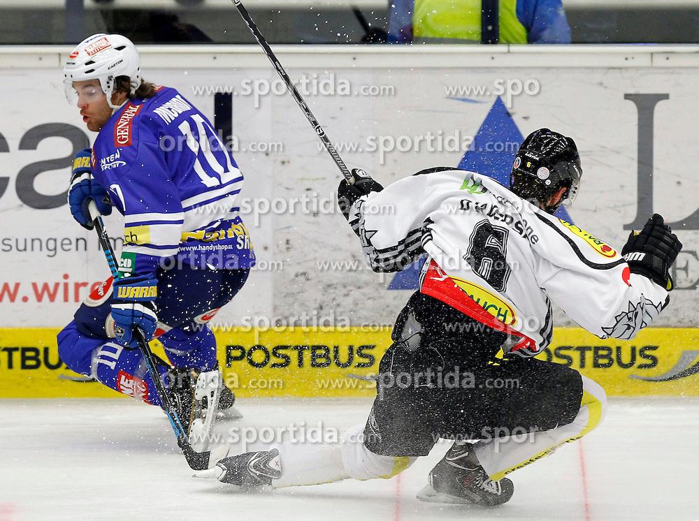 13.11. 2013, Stadthalle, Villach, AUT, EBEL, EC VSV vs Dornbirner EC, 34. Runde, im Bild Brock McBride (VSV,#10) und Jonathan D'Aversa (Dornbirn,#6) // during the Erste Bank Icehockey League 34th round between EC VSV vs Dornbirner EC, at the City Hall, Villach, Austria, 2013/11/13, EXPA Pictures © 2013, PhotoCredit: EXPA/ Oskar Hoeher