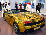 BEIJING, CHINA - FEBRUARY 18: (CHINA OUT) <br /> <br /> Golden Lamborghini <br /> <br /> A golden Lamborghini is on display at a shopping mall on February 18, 2014 in Beijing, China. <br /> ©Exclusivepix