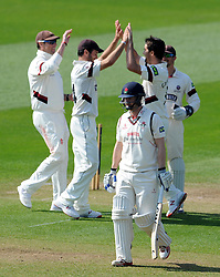 Somerset's Tim Groenewald celebrates the wicket of Lancashire's Karl Brown with team mates.. - Photo mandatory by-line: Harry Trump/JMP - Mobile: 07966 386802 - 08/04/15 - SPORT - CRICKET - Pre Season - Somerset v Lancashire - Day 2 - The County Ground, Taunton, England.