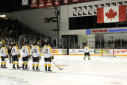 The Brandon Wheat Kings before the semi-final game of the 2010 MasterCard Memorial Cup in Brandon, MB on Friday May 21. Photo by Aaron Bell/CHL Images