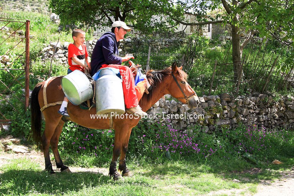 Albania, Benca, Young boy on horseback delivers milk
