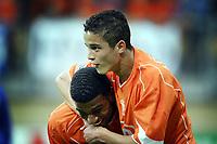 Fotball<br /> FIFA World Youth Championships 2005<br /> Nederland<br /> Foto: ProShots/Digitalsport<br /> NORWAY ONLY - ONLY FOR NORWEGIAN CLIENTS<br /> <br /> 10.06.2005 i Kerkrade<br /> Nederland v Japan 2-1<br /> <br /> ibrahim afellay scoort de 1-0 en viert feest met ryan babel