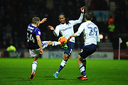 Preston North End Daniel Johnson (11) and Preston North End Tom Barkhuizen (29) and \s14\ during the EFL Sky Bet Championship match between Preston North End and Sheffield Utd at Deepdale, Preston, England on 16 December 2017. Photo by Michał Karpiczenko.