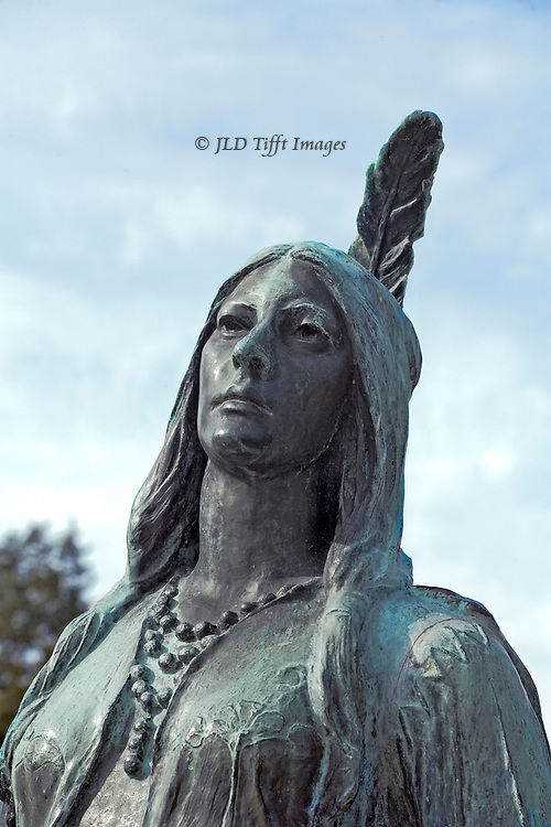 Head and shoulders of a sentimental bronze statue of Pocahontas at Jamestown, VA., made in 1922.  The sculptor, William Ordway Partridge, made her look noble and loving.