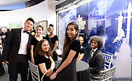 Garden City, New York, U.S. June 6, 2019. Freeport High School Select Chorale members, wearing formal black suits and evening dresses, gather before they perform during Apollo at 50 Anniversary Dinner at Cradle of Aviation Museum, an Apollo astronaut tribute celebrating the Apollo 11 mission Moon landing.
