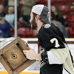 TRENTON, ON  - MAY 6,  2017: Canadian Junior Hockey League, Central Canadian Jr. &quot;A&quot; Championship. The Dudley Hewitt Cup Championship Game between The Trenton Golden Hawks and The Georgetown Raiders. Brandon Marinelli #7 of the Trenton Golden Hawks during post game celebrations. <br /> (Photo by Amy Deroche / OJHL Images)