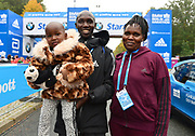 Felix Kandie (KEN) poses with wife and son after placing fourth in 2:06.13 in the 44th Berlin Marathon in Berlin, Germany on Sunday, September 24, 2017. (Jiro Mochizuki/Image of Sport)