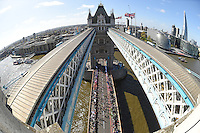 Tower Bridge during  The Virgin Money London Marathon 2014. Sunday 13 April 2014<br /> <br /> Photo: Bob Martin/Virgin Money London Marathon<br /> <br /> media@london-marathon.co.uk