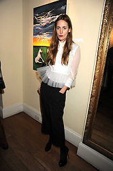 MARY FELLOWES at an exhibition of Sarah-Jane Boler's paintings entitled 'Life on The Farm' held at The Troubadour, 265 Old Brompton Road, London on 27th November 2008.
