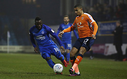 Junior Morias of Peterborough United closes down Frankie Musonda of Luton Town - Mandatory by-line: Joe Dent/JMP - 09/01/2018 - FOOTBALL - Kenilworth Road - Luton, England - Luton Town v Peterborough United - Checkatrade Trophy