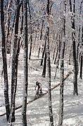 Mountain Biker rides through spring snow in west Michigan.