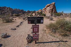 Climbing Access: Hemingway Buttress and Banana Cracks Sign, Joshua Tree National Park, California
