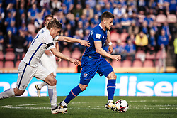 September 2, 2017 - Tampere, Finland - Finland's Jere Uronen and Iceland's Johann Gudmundsson fight for the ball during the FIFA World Cup 2018 Group I football qualification match between Finland and Iceland in Tampere, Finland, on September 2, 2017. (Credit Image: © Antti Yrjonen/NurPhoto via ZUMA Press)
