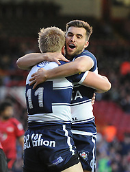 Bristol Rugby's Charlie Amesbury celebrates his try with Bristol Rugby's Craig Hampson - Photo mandatory by-line: Dougie Allward/JMP - Mobile: 07966 386802 - 17/04/2015 - SPORT - Rugby - Bristol - Ashton Gate - Bristol Rugby v Jersey - Greene King IPA Championship