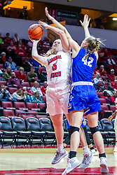 NORMAL, IL - January 03: Lexy Koudelka gets hammered by Alyssa Robben while taking a shot during a college women's basketball game between the ISU Redbirds and the Sycamores of Indiana State January 03 2020 at Redbird Arena in Normal, IL. (Photo by Alan Look)