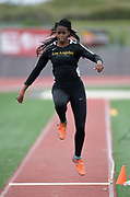 Apr 19, 2019; Torrance, CA, USA; Javany McDermott of Cal State L.A. competes in the women's triple jump during the 61st Mt. San Antonio College Relays at El Camino College.