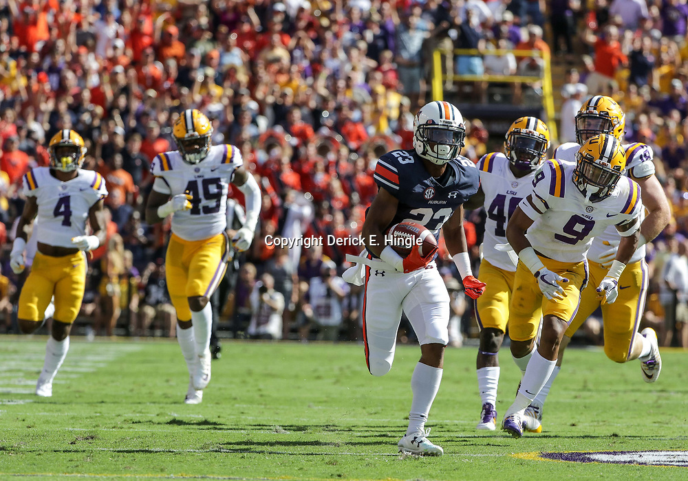 Oct 14, 2017; Baton Rouge, LA, USA; Auburn Tigers wide receiver Ryan Davis (23) runs against against the LSU Tigers during the first half of a game at Tiger Stadium. Mandatory Credit: Derick E. Hingle-USA TODAY Sports