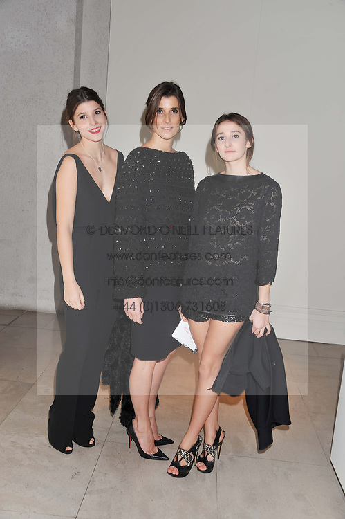 Left to right, PRINCESS MAFALDA-CECILLIA OF BULGARIA, PRINCESS ROSARIO OF BULGARIA and PRINCESS OLIMPIA OF BULGARIA at a private view of 'Valentino: Master Of Couture' at Somerset House, London on 28th November 2012.