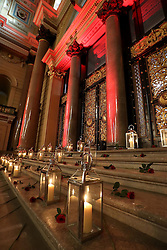 Candles are lit as the 96 victims of the Hillsborough disaster are posthumously awarded the Freedom of the City at a ceremony in Liverpool Town Hall.