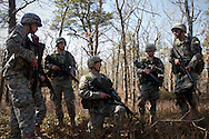 Apr, 9, 2011, Camp Edwards, Massachusetts - Cadet Jon Broderick explains his attack plan to his squad during Spring Field Training. Broderick is preparing to go to Leadership Development and Assessment Camp this summer. Photo by ©Lathan Goumas.