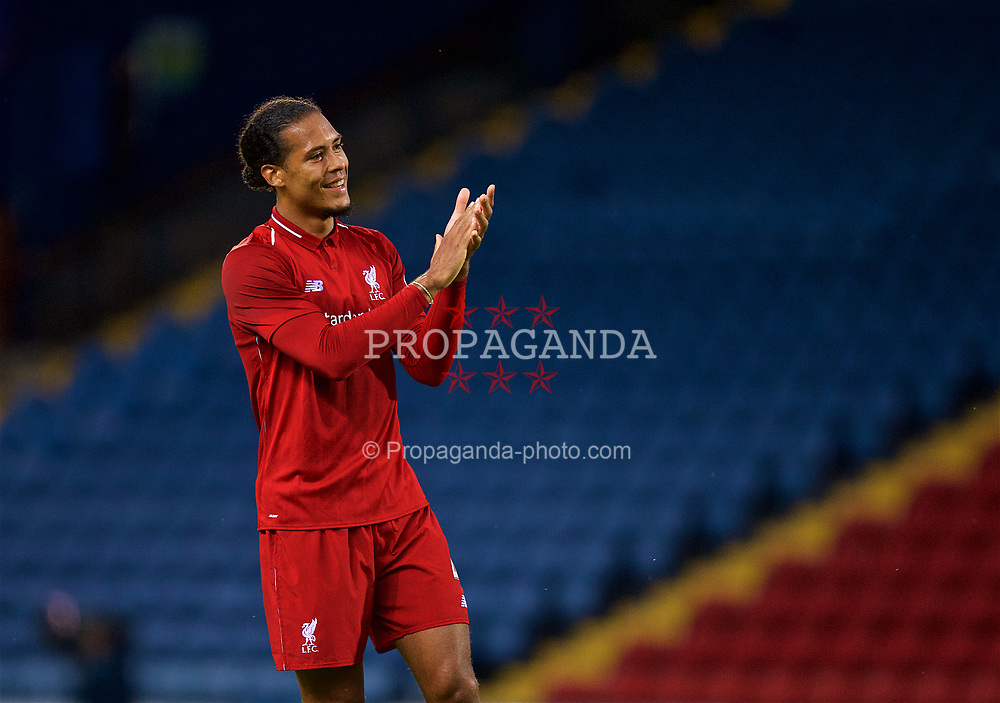 BLACKBURN, ENGLAND - Thursday, July 19, 2018: Liverpool's Virgil van Dijk applauds the travelling supporters after a preseason friendly match between Blackburn Rovers FC and Liverpool FC at Ewood Park. (Pic by Paul Greenwood/Propaganda)