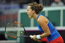 February 10, 2018 - Prague, Czech Republic - Czech tennis player Petra Kvitova celebrates after winning in their Fed Cup match between Czech Republic v Switzerland in Prague, Czech Republic, February 10, 2018. (Credit Image: © Slavek Ruta via ZUMA Wire)