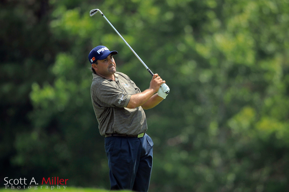 Angel Cabrera hits his second shot on the 14th hole during a practice round for the Players Championship at TPC Sawgrass on May 7, 2008 in Ponte Vedra Beach, Florida.     © 2008 Scott A. Miller