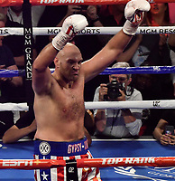 LAS VEGAS, NEVADA - JUNE 15: Tyson Fury raises his gloves to his fans as the fight was stop in the second round at MGM Grand Garden Arena on June 15, 2019 in Las Vegas, Nevada. Tyson Fury took the win by took the win by TKO. MB Media