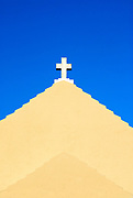 Simple stucco church detail with cross, Bermuda