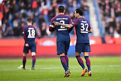 February 17, 2018 - Paris, France - 32 DANI ALVES (psg) - 02 THIAGO SILVA (psg) - JOIE - MAILLOT HOMMAGE A LA CHINE - NOUVEL AN CHINOIS (Credit Image: © Panoramic via ZUMA Press)