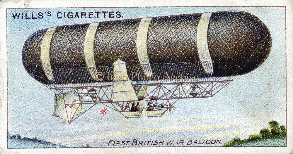 Nulli Secundus (Dirigible No. 2), First British military steerable balloon, built at British Army Balloon Factory, 1905. Made spectacular voyage over London 1907, but was shortly after destroyed in a gale at Crystal Palace. From set of cards on aviation published 1910. Chromolithograph.