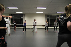 Self-defense training for women put on by PLU Karate Club in Columbia Center, 10/3/2017. Karate Club Women's Self-Defense Training, Fall 2017.