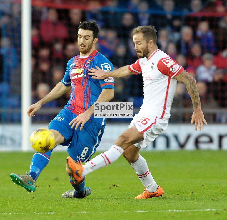Ross Draper (ICT, Blue &amp; Red) &amp; Martin Woods (Ross County, white)<br /> <br /> Inverness Caledonian Thistle v Ross County, Ladbroke's Premiership, Saturday 2nd January 2016<br /> <br /> (c) Alex Todd | SportPix.org.uk