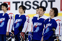 Players of Korea at IIHF Ice-hockey World Championships Division I Group B match between National teams of Korea and Hungary, on April 17, 2010, in Tivoli hall, Ljubljana, Slovenia. Hungary defeated Korea 4-2. (Photo by Matic Klansek Velej / Sportida)