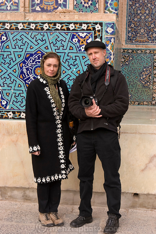 Faith D'Aluisio and Peter Menzel at the Jameh Mosque, Yazd, Iran (Also spelled Jamah). MODEL RELEASED.