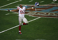 GLENDALE, AZ - FEBRUARY 3: Michael Strahan #92 of the New York Giants celebrates on the field against the  New England Patriots  during Super Bowl XLII at University of Phoenix Stadium  on February 3, 2008 in Glendale, AZ. The Giants defeated the Patriots 17-14. (AP Photo/Tom Hauck)