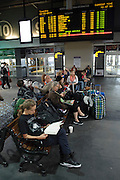Waiting for a train in North Station, Boston, Massachusetts