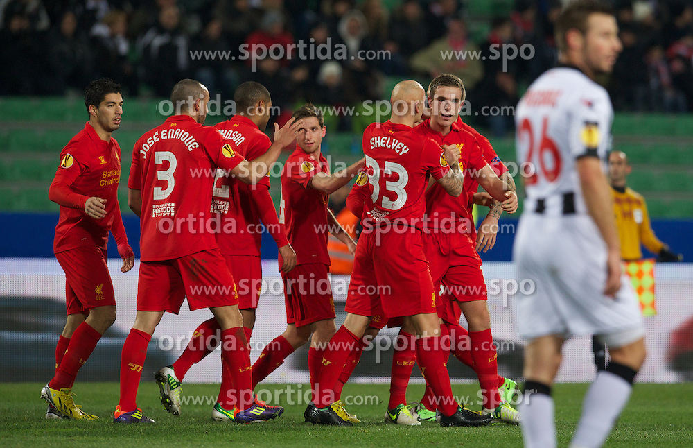 06.12.2012, Stadio Friuli, Udine, ITA, UEFA EL, Udinese Calcio vs FC Liverpool, Gruppe A, im Bild Liverpool's Jordan Henderson celebrates scoring the first goal against Udinese Calcio during during the UEFA Europa League group A match between Udinese Calcio and Liverpool FC at the Stadio Friuli, Udinese, Italy on 2012/12/06. EXPA Pictures © 2012, PhotoCredit: EXPA/ Propagandaphoto/ David Rawcliffe..***** ATTENTION - OUT OF ENG, GBR, UK *****