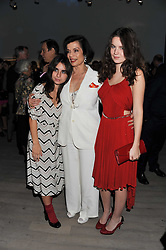 Left to right, ASSISI JACKSON, BIANCA JAGGER and AMBA JACKSON at Arts for Human Rights gala dinner in aid of The Bianca Jagger Human Rights Foundation in association with Swarovski held at Phillips de Pury & Company, Howick Place, London on 13th October 2011.