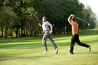 Friends having fun in golf course