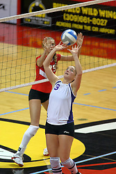 06 October 2007:  Kristin Belzung sets the ball. The Illinois State Redbirds pulled out a photo finish in a match that saw the 4th and 5th games extend into extra point play. Northern Iowa Panthers visited the Illinois State Redbirds at Redbird Arena on the campus of Illinois State University in Normal Illinois.