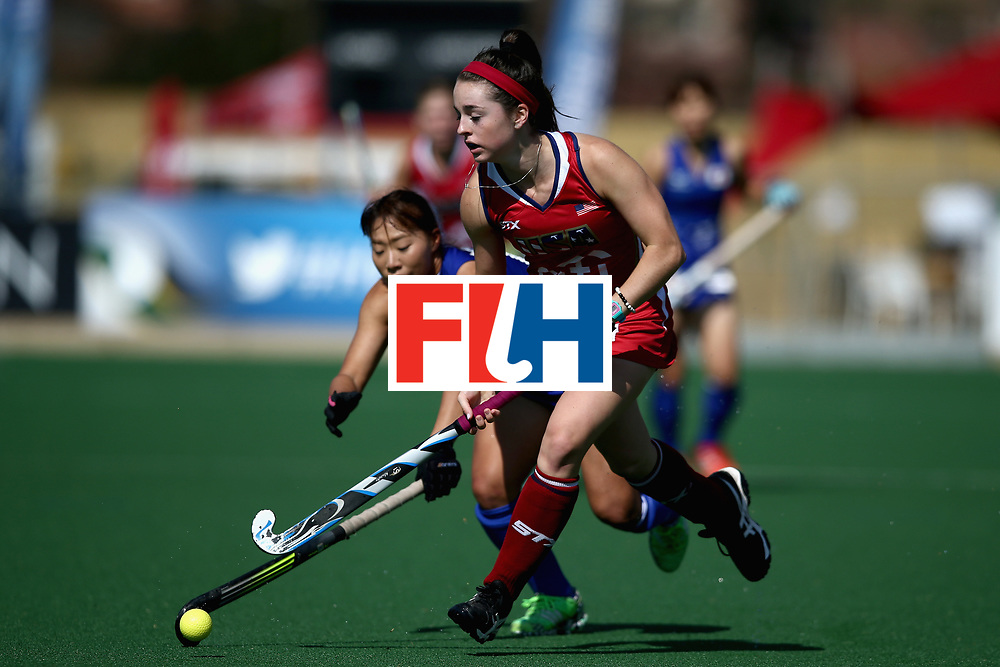 JOHANNESBURG, SOUTH AFRICA - JULY 18: Erin Matson of the United States and Kana Nomura of Japan battle for possession during the Quarter Final match between the United States and Japan during the FIH Hockey World League - Women's Semi Finals on July 18, 2017 in Johannesburg, South Africa.  (Photo by Jan Kruger/Getty Images for FIH)