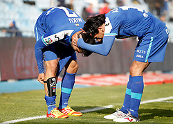 07.04.2012, Stadion Coliseum Alfonso Perez, Getafe, ESP, Primera Division, FC Getafe vs Sporting Gijon, 32. Spieltag, im Bild Getafe's Miku celebrates with Pedro Rios // during the football match of spanish 'primera divison' league, 32th round, between FC Getafe and Sporting Gijon at Coliseum Alfonso Perez stadium, Getafe, Spain on 2012/04/07. EXPA Pictures © 2012, PhotoCredit: EXPA/ Alterphotos/ Alvaro Hernandez..***** ATTENTION - OUT OF ESP and SUI *****